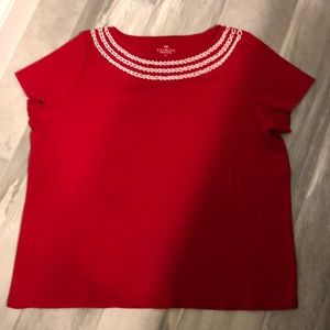 👀🆕 Talbots Red Embellished T-shirt Size 2Xp